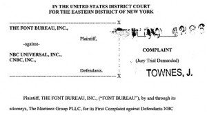 Font Bureau legal material for a court case with NBC